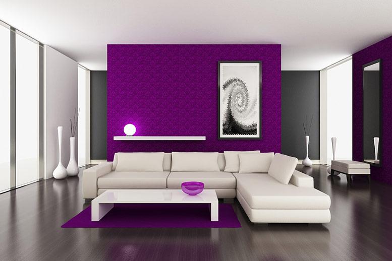 sơn nội thất phòng khách màu tím đẹp