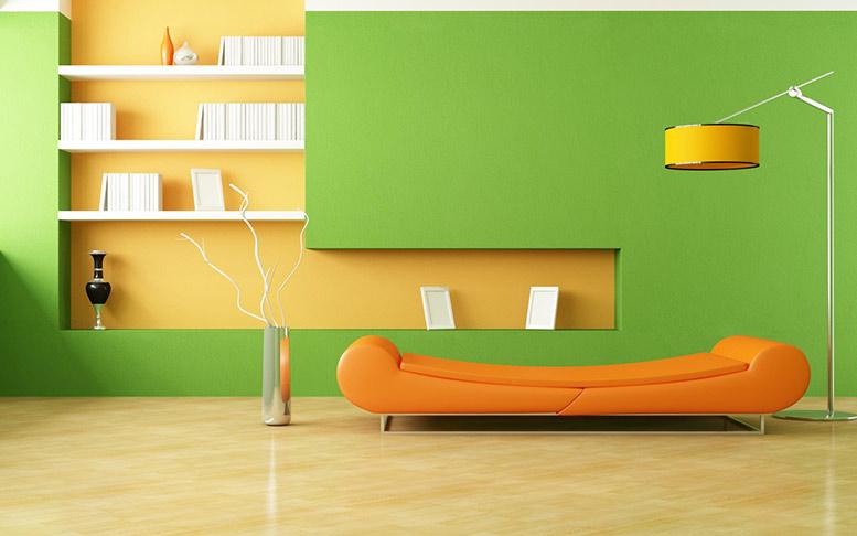 phòng đọc sách màu cam