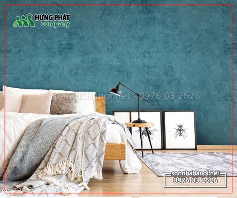 Sơn hiệu ứng xanh rêu, Sơn giả xanh rêu, sơn màu xanh loang lổ phòng khách đẹp