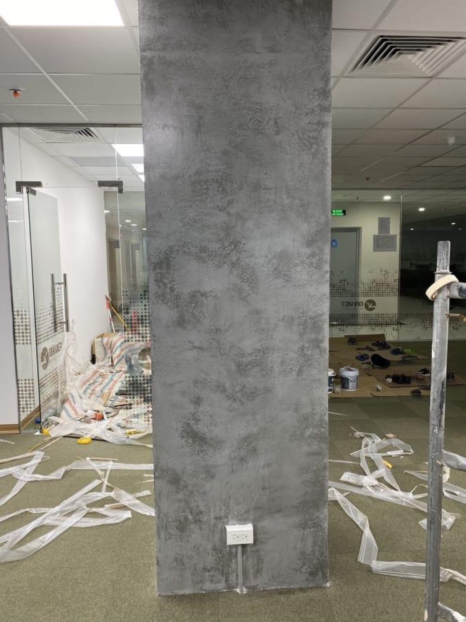 Sơn gia be tông, xi măng cột văn phòng làm việc - Công ty bất động sản